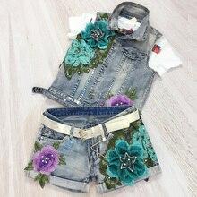 European Station 2017 Bronzing Elastic Vest Stretch Denim Shorts Two Sets Women blue flower beaded stitch embroidery paint jeans