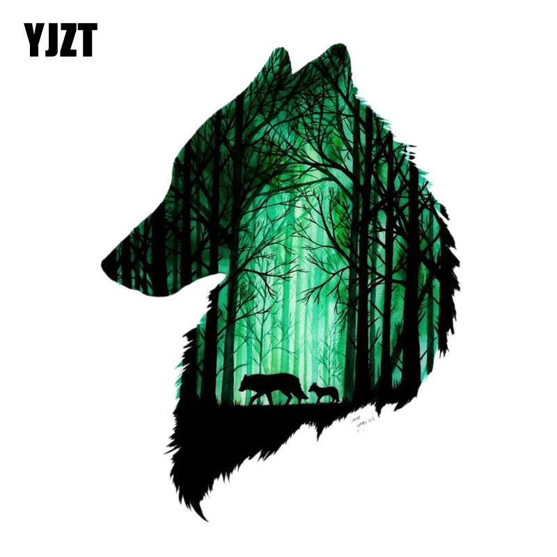 YJZT  11.6CM*15.5CM  Two Wolves In The Forest PVC Motorcycle Car Sticker 11-00476