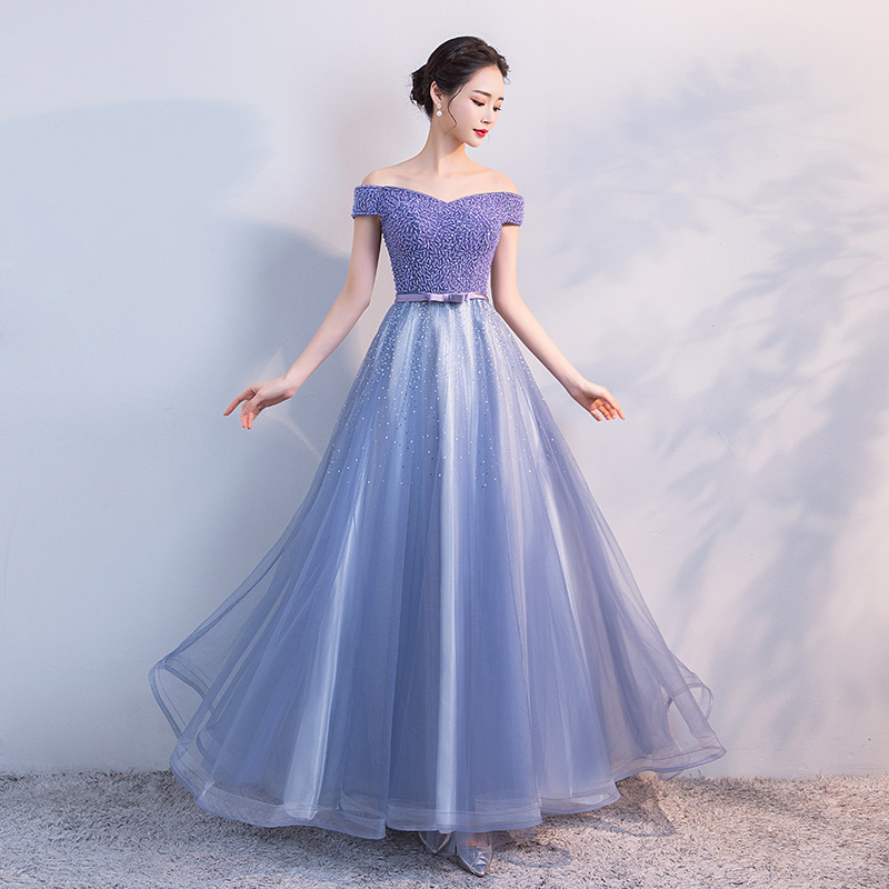 Evening     Dress   Female 2019 New Stylish Sexy Off the Shoulder Beading Formal   Dress   a Line Floor Length Banquet   Dress