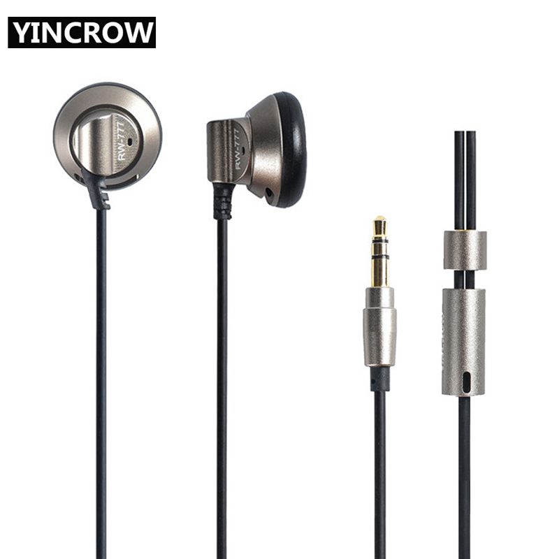 New Original YINCROW RW-777 In Ear Earphone Earbuds Flat Head Plug Earplugs Earbuds Metal Earphone Professional HIFI Headset original senfer dt2 ie800 dynamic with 2ba hybrid drive in ear earphone ceramic hifi earphone earbuds with mmcx interface