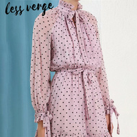 lessverge Pink ruffles polka dot playsuit short jumpsuit Lace up long sleeve chiffon rompers Elegant vintage sash women overalls