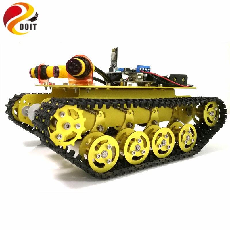 Herzhaft Wifi Steuer Hindernis Vermeidung Smart Roboter Crawler Tank Auto Chassis Ts100 Mit Dämpfung Für Änderung Durch Telefon Rc-panzer