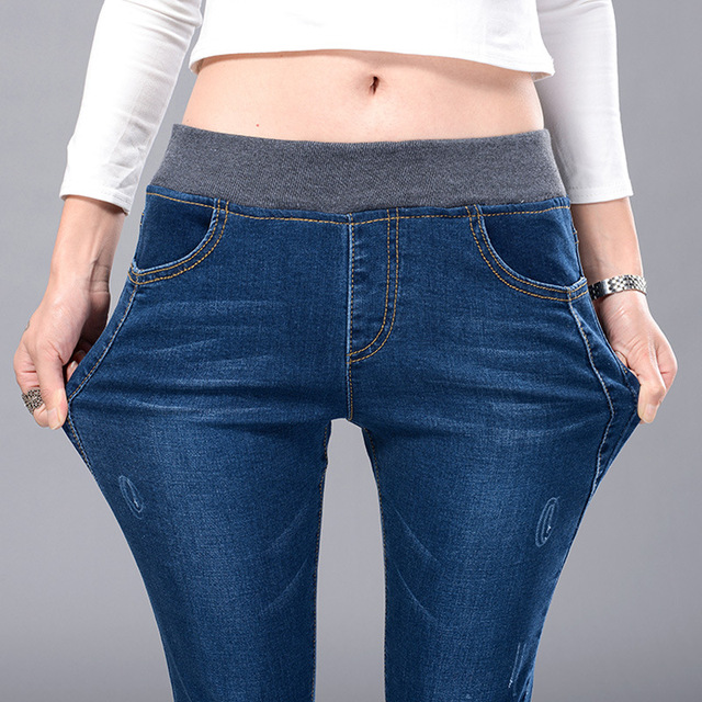 363e0ca753 US $14.01 10% OFF|2018 new spring elastic waist jeans Korean Ladies stretch  denim trousers jeans female feet-in Jeans from Women's Clothing on ...