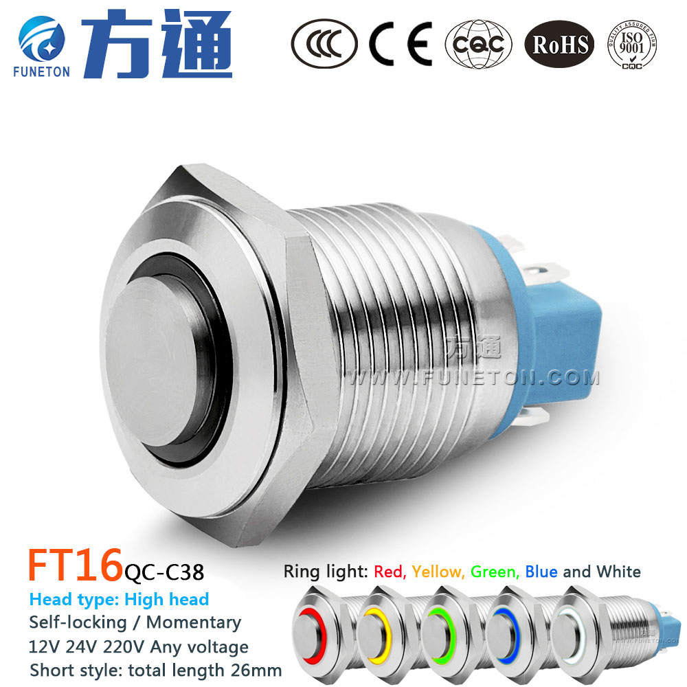16mm FT16QC-C38 Metal Push Button Switch with LED Light 6V 12V 24V 36V 110V 220V Self-locking/Momentary Push Button Power Switch