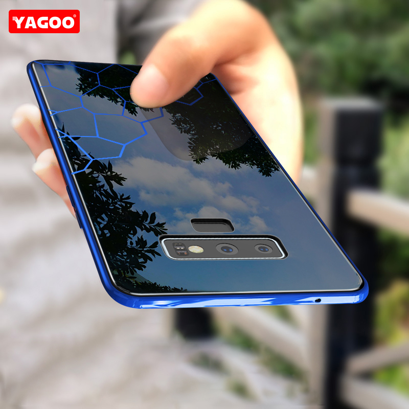 YAGOO For Samsung Galaxy Note 9 Case Note 9 Case Cover Hard Glass Shockproof Men Business Back Shell For Galaxy Note9 Funda Capa