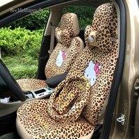18PCS Cartoon Universal Leopard pink cat Car Seat Covers Winter Short Plush Car Pad Seat Car Styling Car Interior Accessories