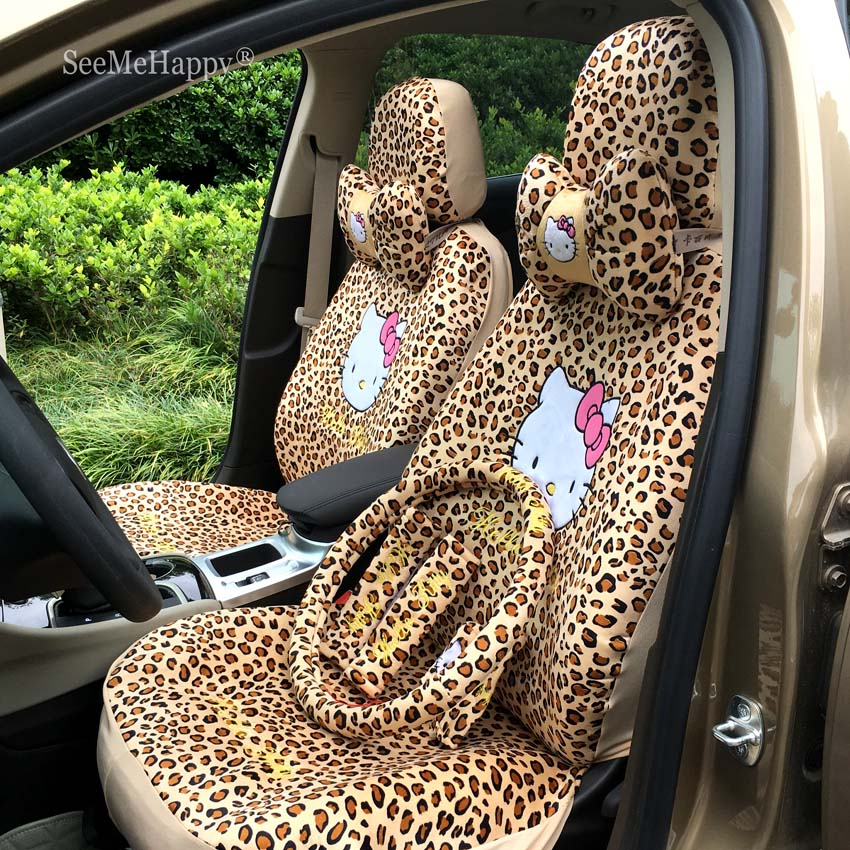 18PCS Cartoon Universal Leopard pink cat Car Seat Covers Winter Short Plush Car Pad Seat Car Styling Car Interior Accessories
