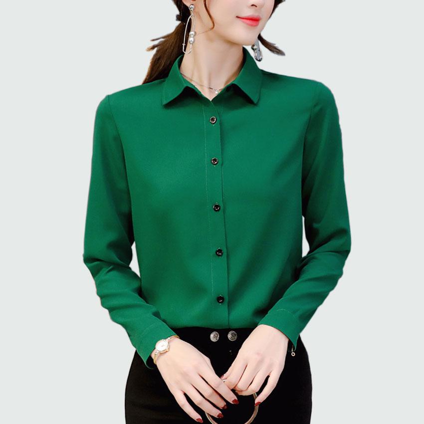 Mulheres Manga Comprida Sólidos Chiffon Blusa 2018 Primavera Senhora Do Escritório Verão Plus Size Blusas Estilo Ol Camisas Blusas Chemise Femme