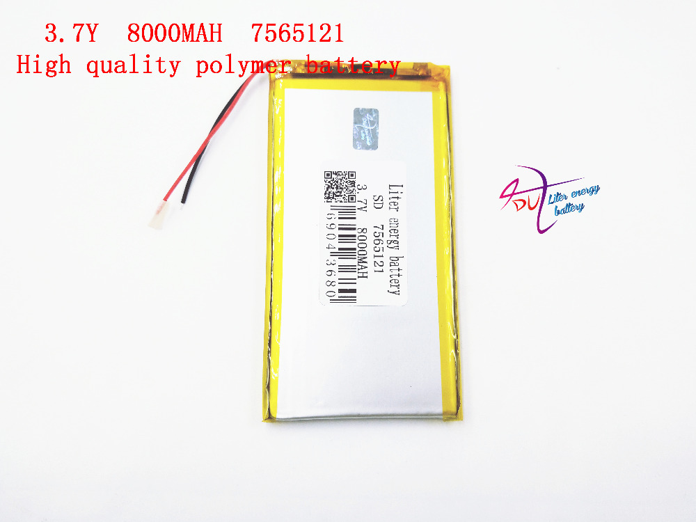 best battery brand 3.7 V 7565121 lithium polymer battery 8000mah rechargeable batteries treasure navigation tablet phone