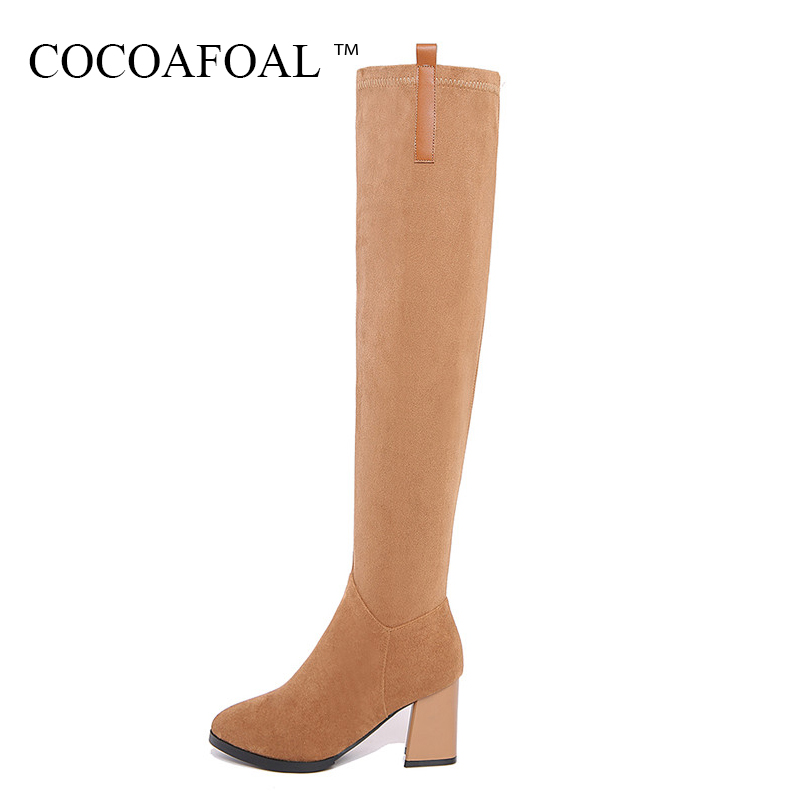 COCOAFOAL Women's Genuine Leather Thigh High Boots Sexy Black High Heel Shoes Plus Size 33 41 Winter Chelsea Over The Knee Boots cocoafoal women sexy black high heeled shoes genuine leather thigh high boots plus size 33 41 winter chelsea over the knee boots