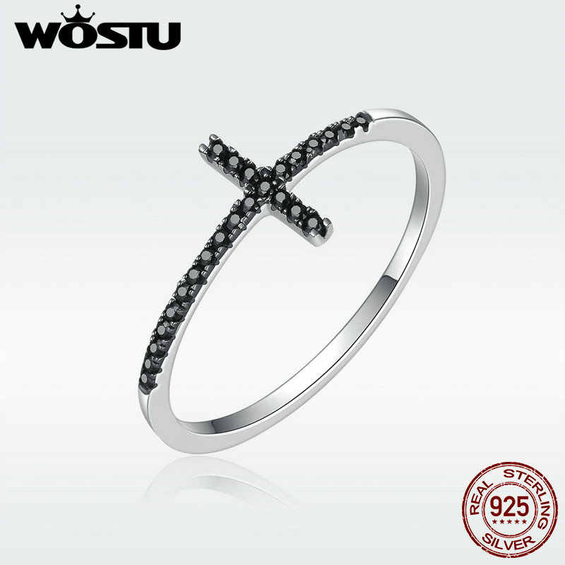 WOSTU  100% Pure 925 Sterling Silver Belief Cross Finger Rings With Black Zirconia Stone For Women Party Gift Jewelry DXR067