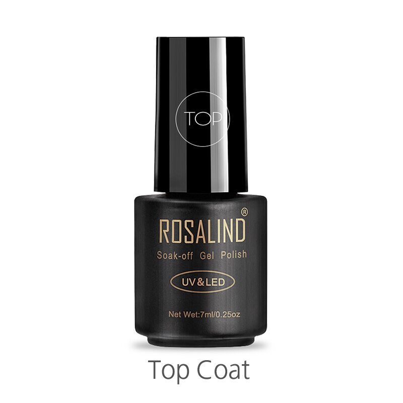 ROSALIND Top Coat 7ml Gel Nail Polish Protect Nails UV LED Lamp Semi Vernis Permanent Nail Art Soak Off Gel Nail Polish