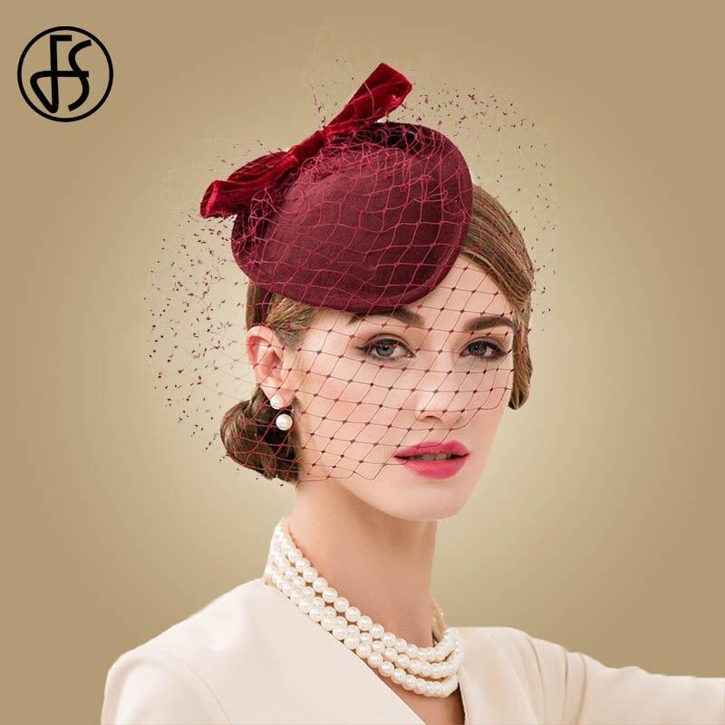 FS Wine Red Wedding Fascinators Hats For Women Elegant Formal Church Wool Felt Pillbox Hat With