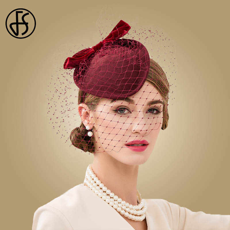 FS Wine Red Wedding Fascinators Hats For Women Elegant Formal Church Wool Felt Pillbox Hat With Veils Lady Derby Cocktail Fedora