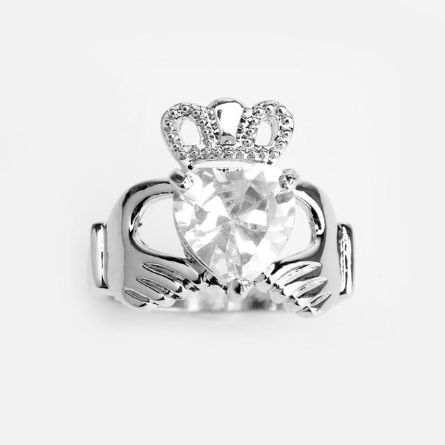 HANCHANG Love Heart Design Crown Hand Heart Clah-Duh Claddagh Rings For Women Christmas Gift Anel Fashion Jewelry Bague Gift 2