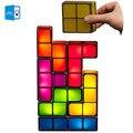7 цветов DIY тетрис-головоломки свет Штабелируемый светодиодный настольная лампа конструктивный блок ночник Ретро игрушечная башня ребенок ...
