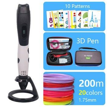 3d caneta de impressão 3d-3 d canetas 1.75mm abs filamento presentes de natal presente de aniversário da criança caneta de impressão usb adaptador de presente de ano novo