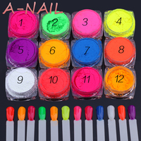 12jars Set Effect Nail Glitter Fluorescent Color Powder Pigment Nail Polish Dust UV Gel Nail Decoration