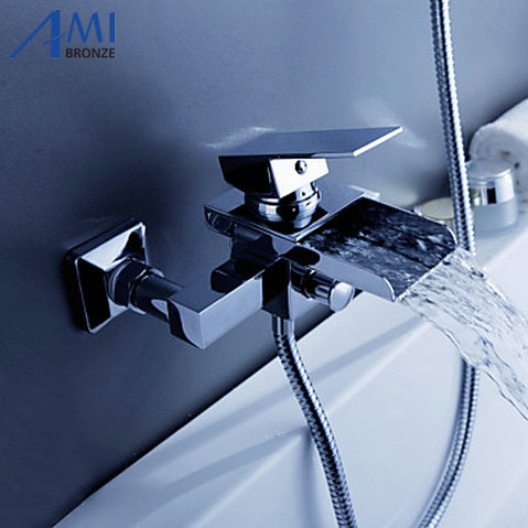 Contemporary Tub Faucet with waterfall Spout Wall Mount wf08Contemporary Tub Faucet with waterfall Spout Wall Mount wf08