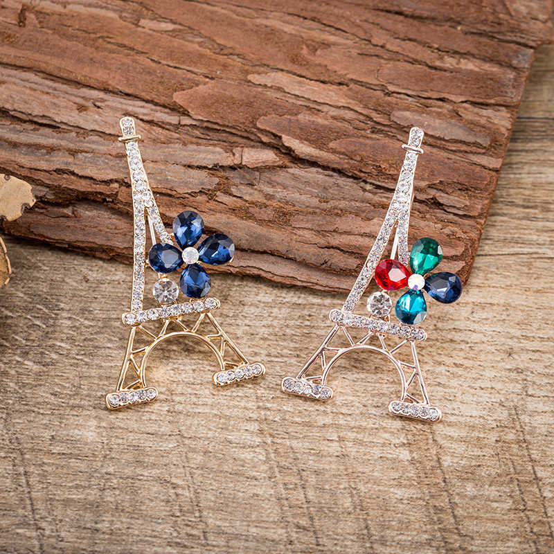 TDQUEEN Paris Eiffel Tower ดอกไม้ Pins และเข็มกลัดสำหรับชุดสตรีชุดสูททองสี Pin เครื่องประดับที่ระลึกของขวัญ