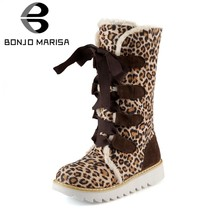 BONJOMARISA Große Größe 34-43 Damen Mode Leopard Mid-Kalb Schnee Stiefel Frauen Winter Warm lace-up pelz Stiefel Plattform Schuhe Frau(China)