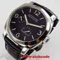 44 мм фабрика Parnis черный сэндвич циферблат Запас хода SS 2530 механические мужские часы кожа