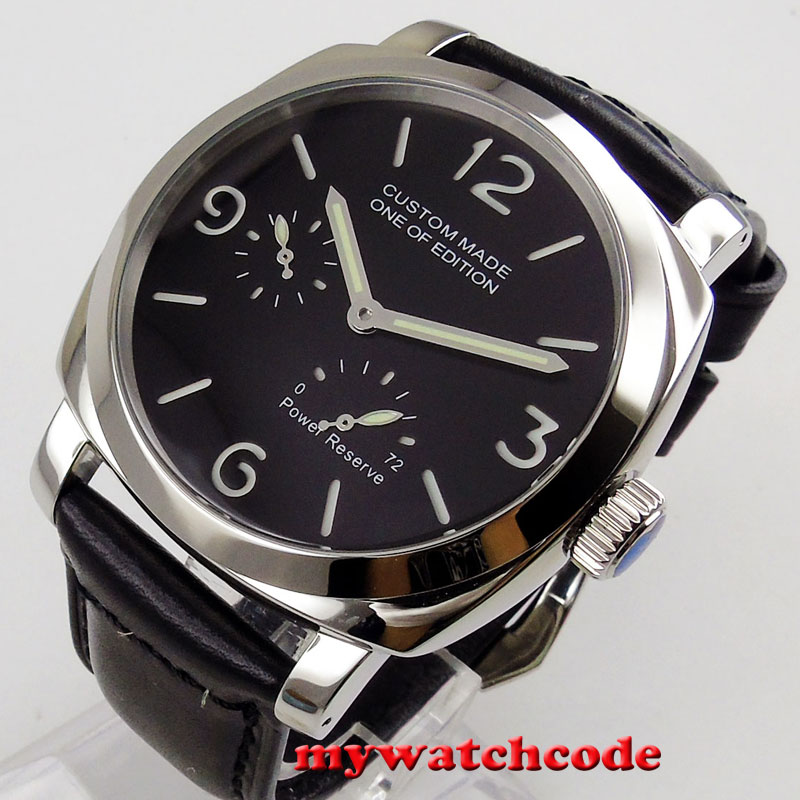 44mm Parnis fábrica negro sándwich dial reserva de energía 2530 reloj automático para hombre-in Relojes mecánicos from Relojes de pulsera    1