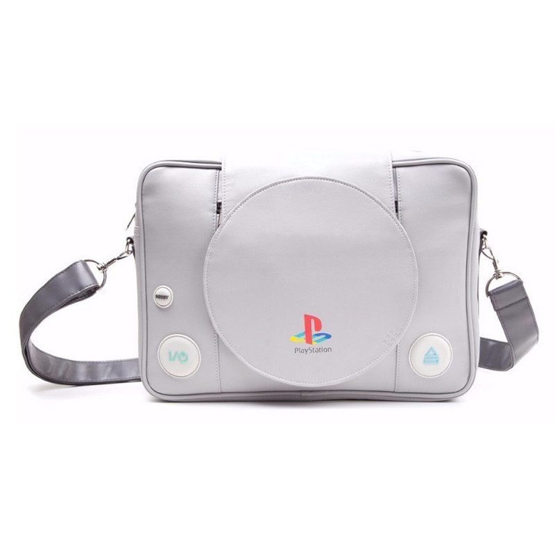 Sony Playstation: Playstation Console Shaped Messenger Bag Grey Men's crossbody bag pu high quality shoulder bag laptop bag playstation console shaped bifold pu wallet dft 10101