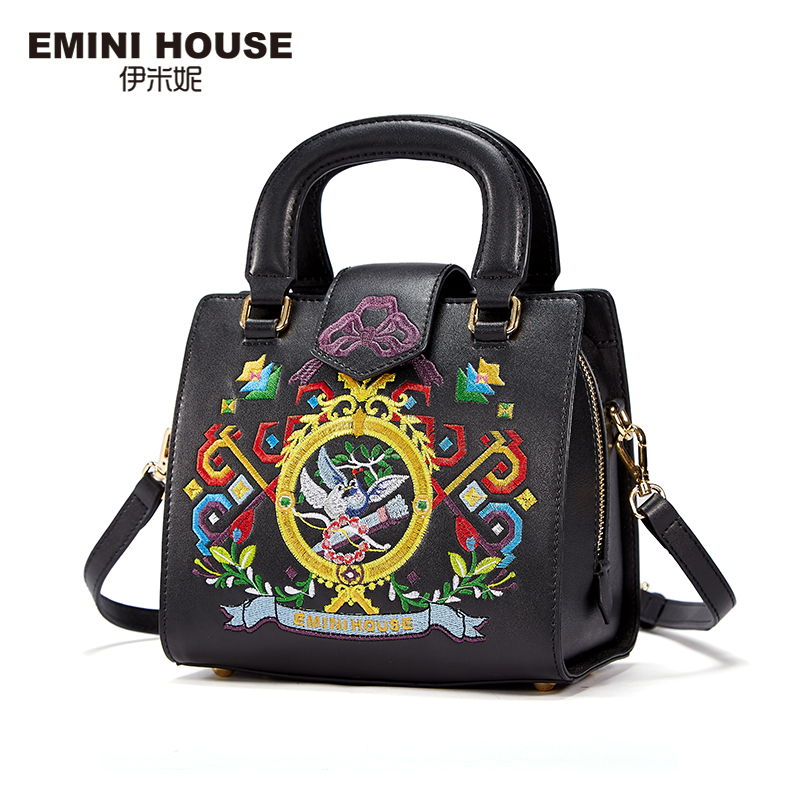 EMINI HOUSE Embroidery Flap Bags Split Leather Bag Handbags Women Famous Brands Women Shoulder Bag Crossbody Bags For Women emini house tote bag genuine leather women messenger bags shoulder bag handbag women famous brands crossbody bags for lady
