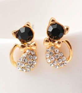 Lovely Rhinestone Cat Earrings