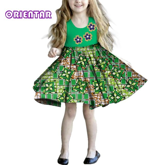 404cf69d98c New Fashion Kids Girl Sleeveless Dress African Print Floral Children Dress  Bazin Riche Clothes Summer Girls Casual Dresses WYT16