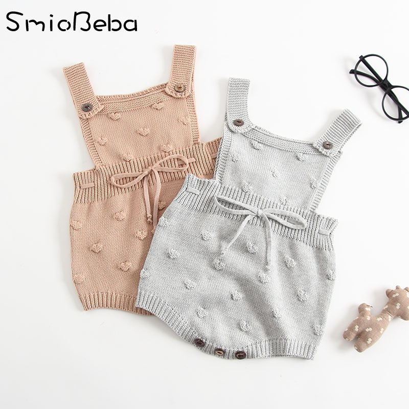 INS Summer Knitted   Rompers   Newborn In Baby Girls'   Rompers  &Jumpsuit Vest Top Tee Kids Boys Gray   Rompers   0-3 Years Girl Clothing