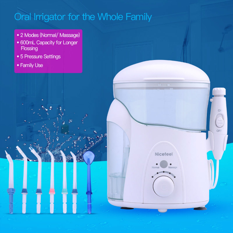 Water Flosser Dental Oral Irrigator Dental Spa Unit Professional Floss Oral Irrigator 7 Multifunctional Jet Tip 600ML Water Tank 100pcs water flosser flycat fc168 oral irrigator 600ml tank 8pcs jet tips dental flosser power water jet protable oral deep