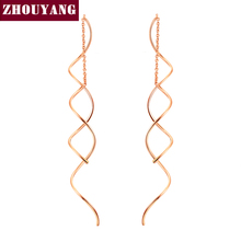 ZHOUYANG Top Quality Simple Spiral Ear Line Rose Gold Color Fashion Earrings Jewelry Wholesale ZYE243 ZYE319