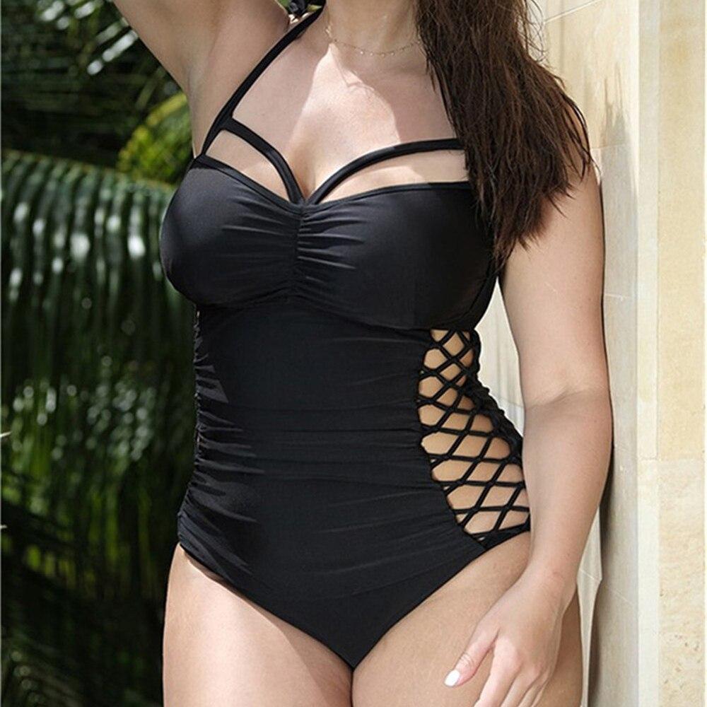 2018 Sexy One Piece Swimsuit Bandage For Women Cut Out Halter Monokini Bodysuit Bathing Suit Female Plus Size Swimwear XXXXL