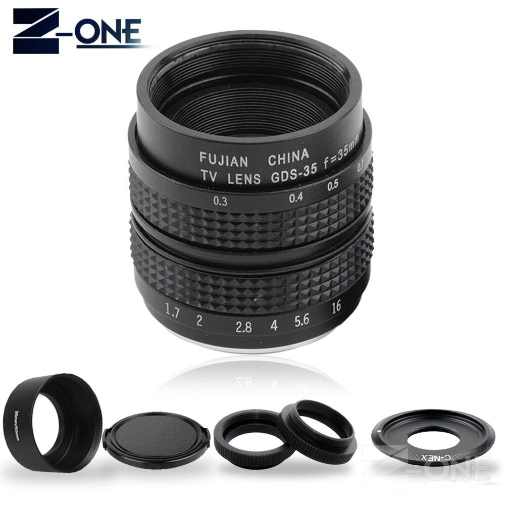Fujian 35mm F1.7 CCTV Movie Lens+C Mount+Macro ring+Lens hood for Sony E Mount Nex-5T Nex-6 Nex-7 Nex-5R A6300 A6500 A6000 A5100