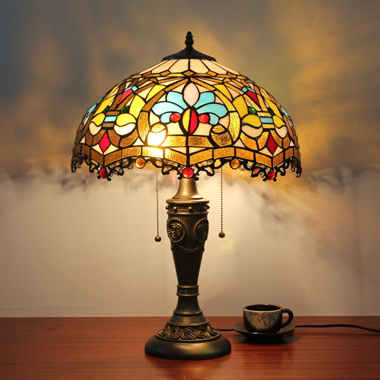 16inch Luxury tiffany Baroque style table lamp retro decoration bedroom bedside lamp ...