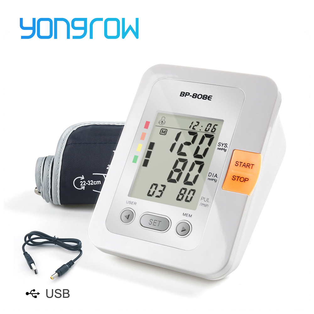 bdca11a8a Yongrow Digital Lcd Monitor de Pressão Arterial Braço Superior  Esfigmomanômetro Batimento Cardíaco Medidor Máquina Tonômetro para Medir