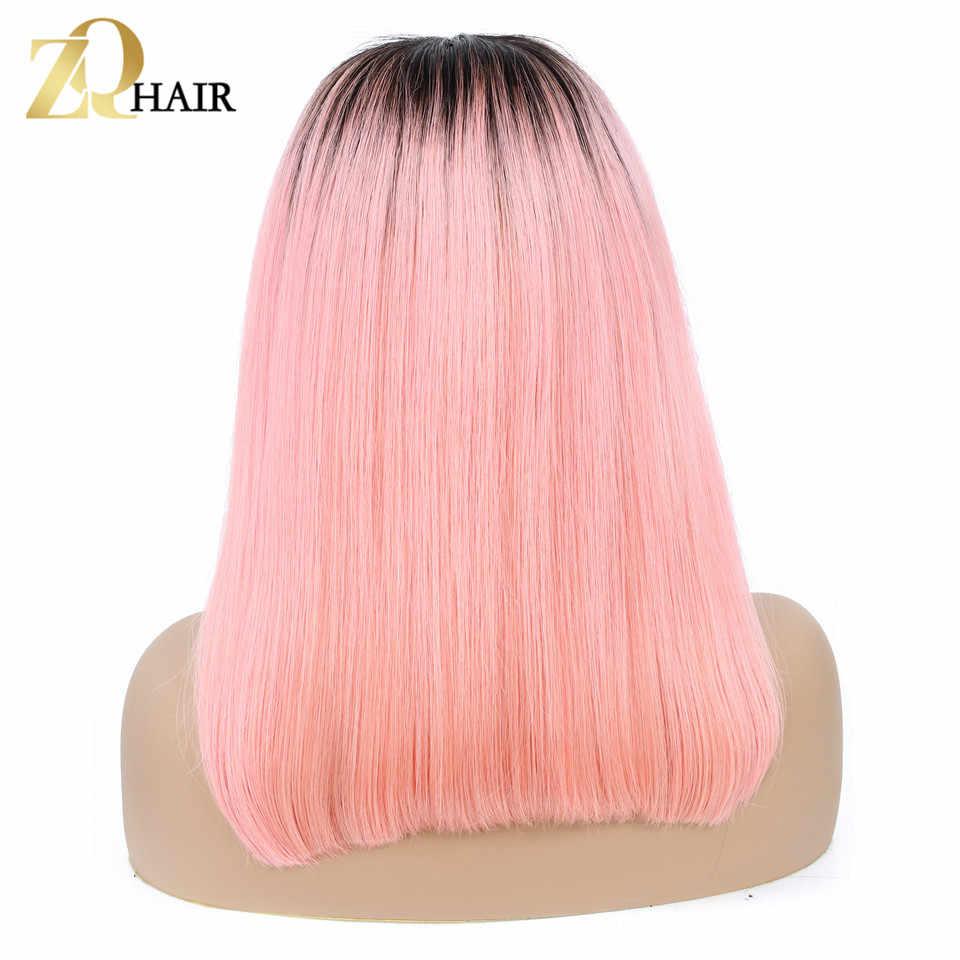 ZQ Цветной Синтетические волосы на кружеве парики человеческих волос Ombre Синтетические волосы на кружеве боб парик 1B/розовый серый 99j синий Малайзии Прямые Цветные парики Волосы remy