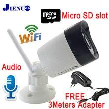 Jienu câmera de vigilância residencial, ip wi fi cctv sistema externo à prova d água sem fio residencial com suporte micro sd slot de visão noturna