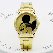 Fashion Mouse Delicate hollow dial strap wristwatches Gold quartz watch women rh