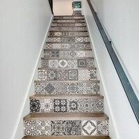 13pcs/set 3D Stairs Tile Risers Mural Vinyl Decal Wallpaper Stickers Decor Decals FS045