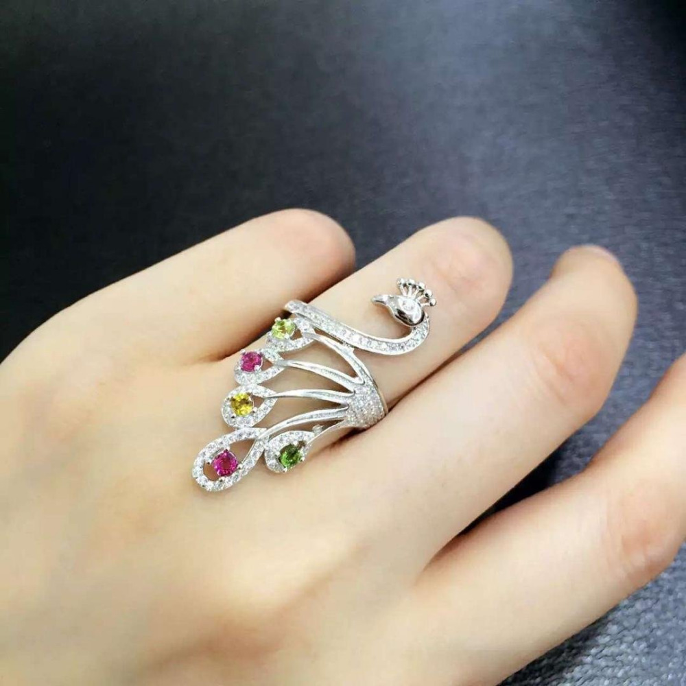 Anillos Qi Xuan_Trendy bijoux _tourmaline pierre paon femme Rings_S925 solide argent mode rings_fabricant directement ventes