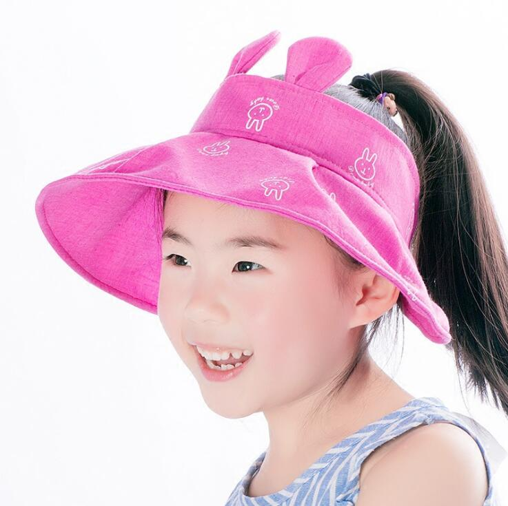 42a40e5103c Girls Rabbit Ear Design Falbala Without Sun Hats Kid Child Summer Beach UV  protection Sun Protective Caps 5 8T MZ5791-in Hats   Caps from Mother   Kids  on ...