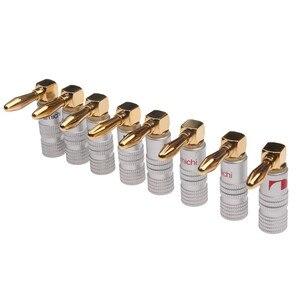 4 шт. позолоченные 24K банановые вилки Nakamichi правый угол 4 мм разъем типа «банан» для адаптера для видео динамика набор аудиопроводов и кабельных разъемов