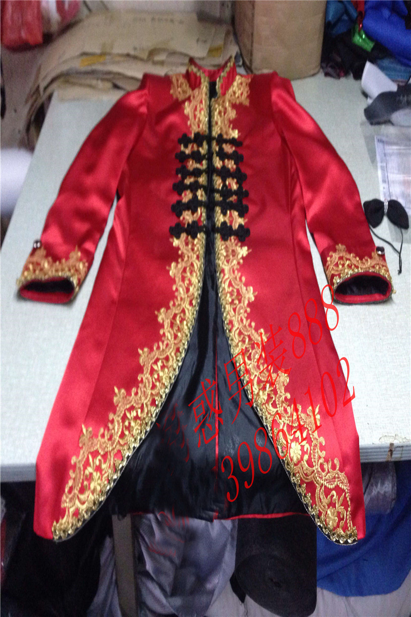 100%real red mens golden embroidery medieval tuxedo swallowtail magician jacket/party/stage performance/this is only jacket