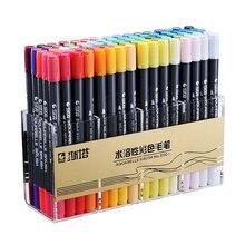 STA Dual Brush Water based Art Marker Pens with Fineliner Tip 12 24 36 48 Color Set  Fine Tip Sketch Marker Pen Aquarelle