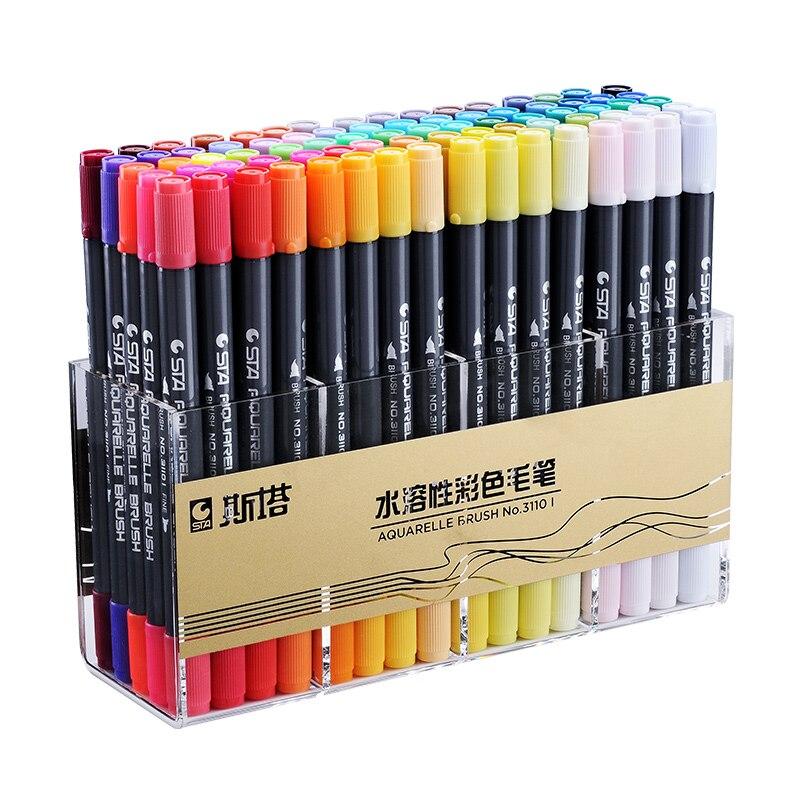 Sta dupla escova à base de água arte canetas marcador com ponta fineliner 12 24 36 48 cor conjunto ponta fina esboço caneta marcador aquarelle