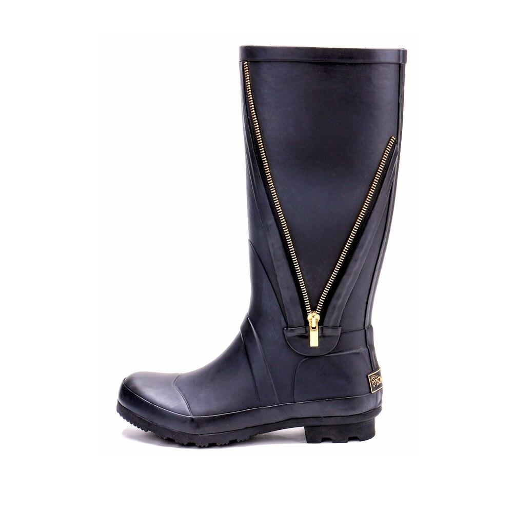 D'hiver Femmes Naturel 243 Black 545 Caoutchouc En Côté Bottes Tongpu Zipper Décoratif De Pluie 1qqg86