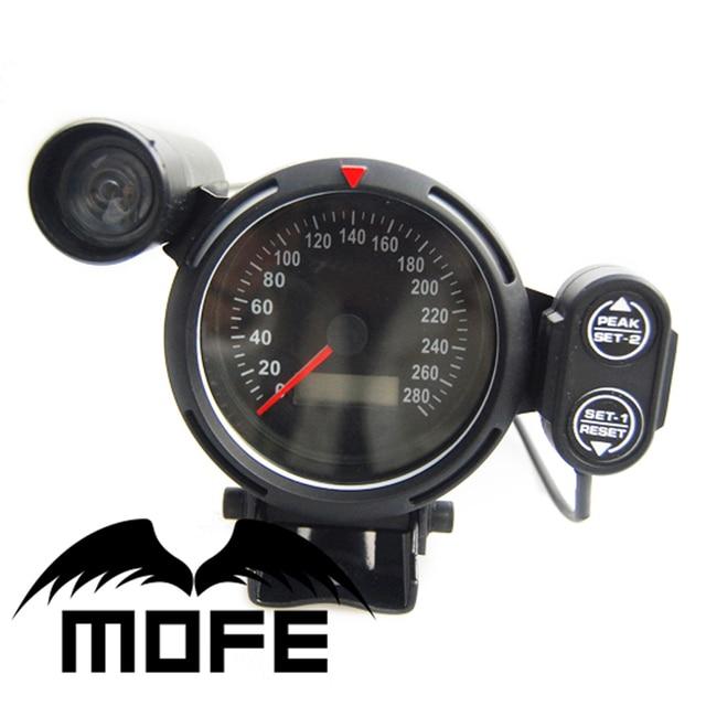 Original Logo White LED 80mm Digital Odometer Speedometer Meter Gauge With Green Shift Light + Stepper Motor